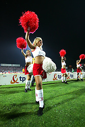 WARSAW, POLAND - WEDNESDAY, SEPTEMBER 7th, 2005: Cheerleaders at the Poland v Wales World Cup Group Six Qualifying match at the Legia Stadium. (Pic by David Rawcliffe/Propaganda)