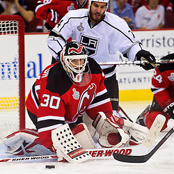 June 9, 2012: New Jersey Devils goalie Martin Brodeur (30) watches a loose puck during second period action in game 5 of the NHL Stanley Cup Final between the New Jersey Devils and the Los Angeles Kings at the Prudential Center in Newark, N.J.