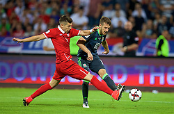 BELGRADE, SERBIA - Sunday, June 11, 2017: Wales' Aaron Ramsey and Serbia's Matija Nastasic during the 2018 FIFA World Cup Qualifying Group D match between Wales and Serbia at the Red Star Stadium. (Pic by David Rawcliffe/Propaganda)