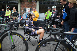 Dani King (GBR) of Wiggle Hi5 Cycling Team talks to a TV crew before the start of the Aviva Women's Tour 2016 - Stage 3. A 109.6 km road race from Ashbourne to Chesterfield, UK on June 17th 2016.