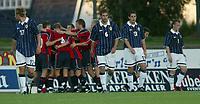 Fotball<br /> Treningskamp U21<br /> Skien 19.08.2003<br /> Norge v Skottland<br /> Norge jubler - Skottland depper<br /> David Noble (17) West Ham - Gareth Williams (6) Nottingham Forest - Chris Doig (13) - Nottingham Forest<br /> Foto: Morten Olsen, Digitalsport