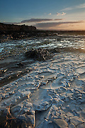 Wide angle view of Kilve Beach as sunset approaches, with a small ammonite fossil in the foreground.