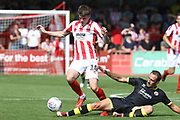 Liam McAlinden and Josh Payne during the EFL Sky Bet League 2 match between Cheltenham Town and Crawley Town at LCI Rail Stadium, Cheltenham, England on 4 August 2018. Picture by Antony Thompson.