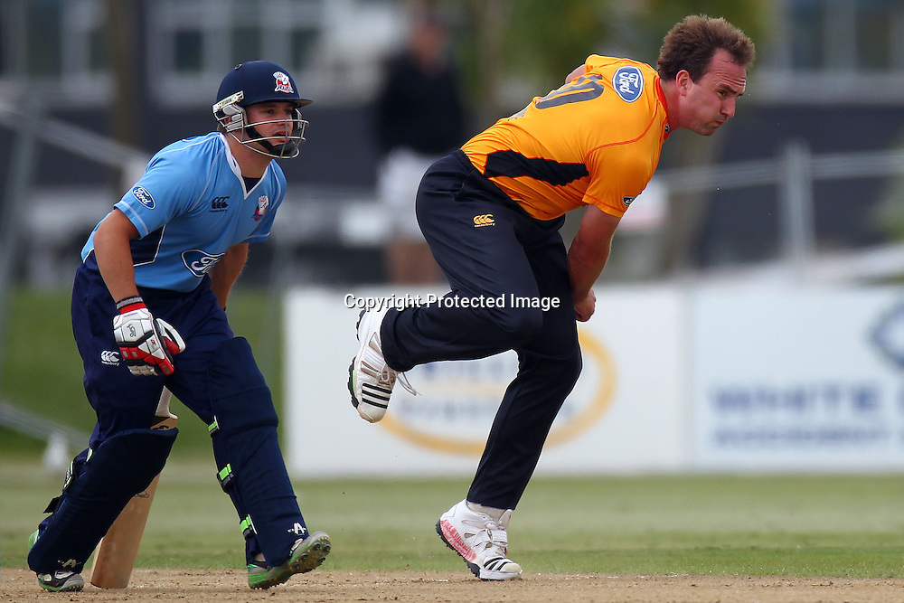 Firebirds Luke Woodcock and Brad Cachopa during the Ford Trophy match between the Auckland Aces v Wellington Firebirds. Men's domestic 1 day cricket. Colin Maiden Park, New Zealand. Sunday 29 January 2012. Ella Brockelsby / photosport.co.nz