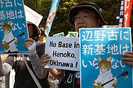 May 25, 2019, Tokyo, Japan: Timed for President Trump's arrival to Japan, approximately 5000 demonstrators held a rally to oppose the construction of a US Marine Corps currently underway in Henoko Bay, Nago City, Okinawa. This took place in front of Japan's National Diet Building (parliament) with protestors demanding a halt to the base's construction. Henoko Bay with it's fragile ecosystem and ancient coral reefs is being destroyed by land reclamation. A referendum was held in Okinawa Prefecture on Feb. 24, 2019 asking whether voters approved the construction and 72% of the voters rejected it. However, the authority over the base rests with the Abe administration and the central government. Trump arrived Japan the same day for an official four day state visit. Photo by Torin Boyd.