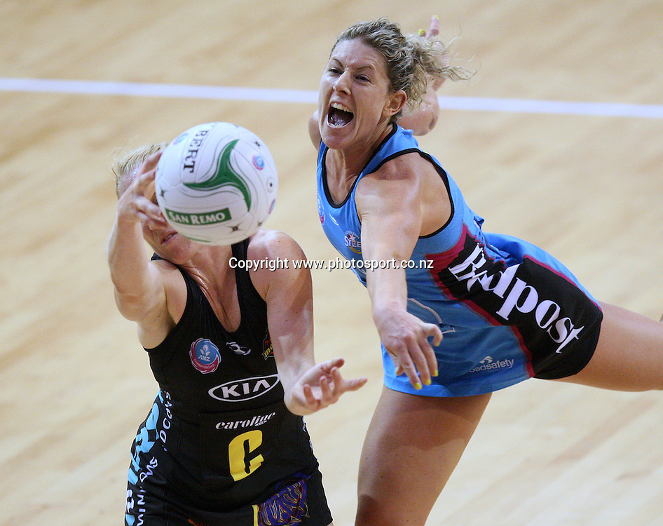 Phillipa Finch of the Steel, right, and Laura Langman of the Magic compete for the ball in the ANZ netball championship, Ascot Park Hotel Southern Steel v KIA Bay of Plenty Magic, Stadium Southland Velodrome, Invercargill, New Zealand, Saturday, May 18, 2013. Photo:  Dianne Manson / photosport.co.nz