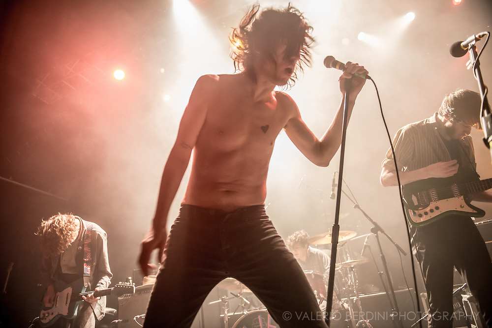 Fat White Family on stage for the NME Awards tour at the London Forum on 4 March 2015. <br />