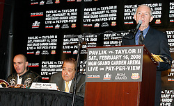 December 11, 2007; New York, NY, USA;  Ring Magazine Editor Nigel Collins speaks at the press conference announcing the rematch between Unbeaten World Middleweight Champion Kelly Pavlik and former champion Jermain Taylor, which will take place Saturday, February 16, 2008, at MGM Grand in Las Vegas, NV.  Taylor missed attending the press conference due to the birth of his baby girl on Monday evening.