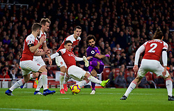 LONDON, ENGLAND - Saturday, November 3, 2018: Liverpool's Mohamed Salah is blocked by four Arsenal players during the FA Premier League match between Arsenal FC and Liverpool FC at Emirates Stadium. (Pic by David Rawcliffe/Propaganda)