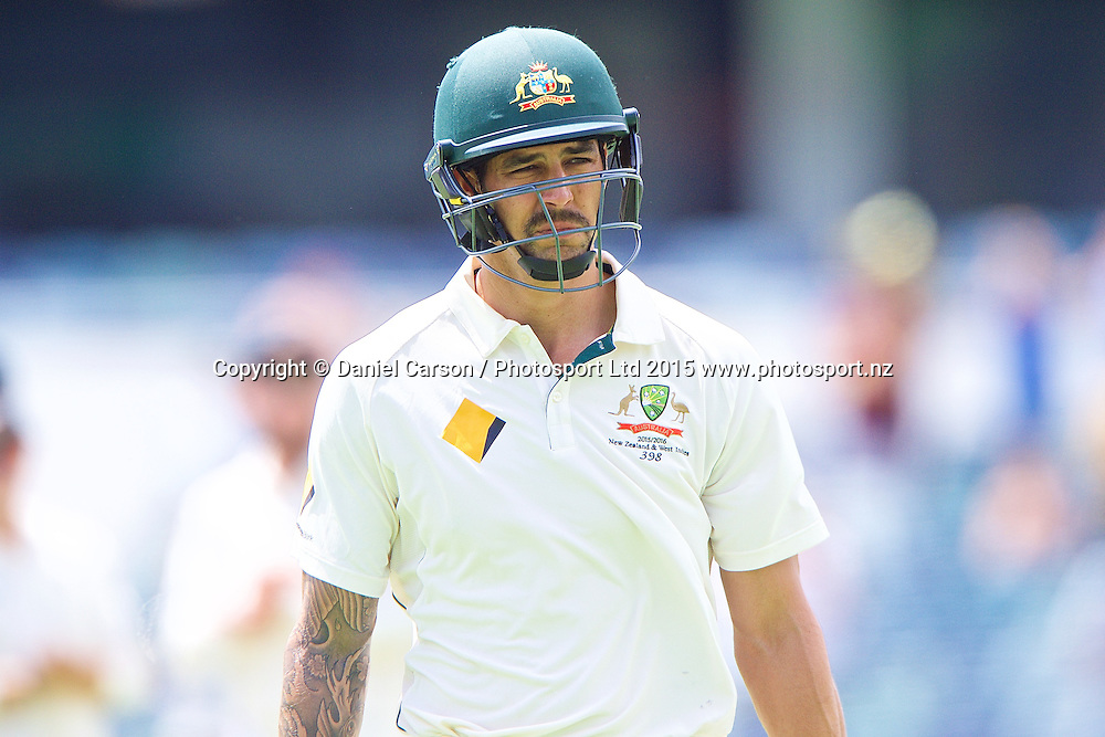Mitchell Johnson of Australia leaves the pitch after losing his wicket in his retirement game during Day 5 on the 17th of November 2015. The New Zealand Black Caps tour of Australia, 2nd test at the WACA ground in Perth, 13 - 17th of November 2015.   Photo: Daniel Carson / www.photosport.nz
