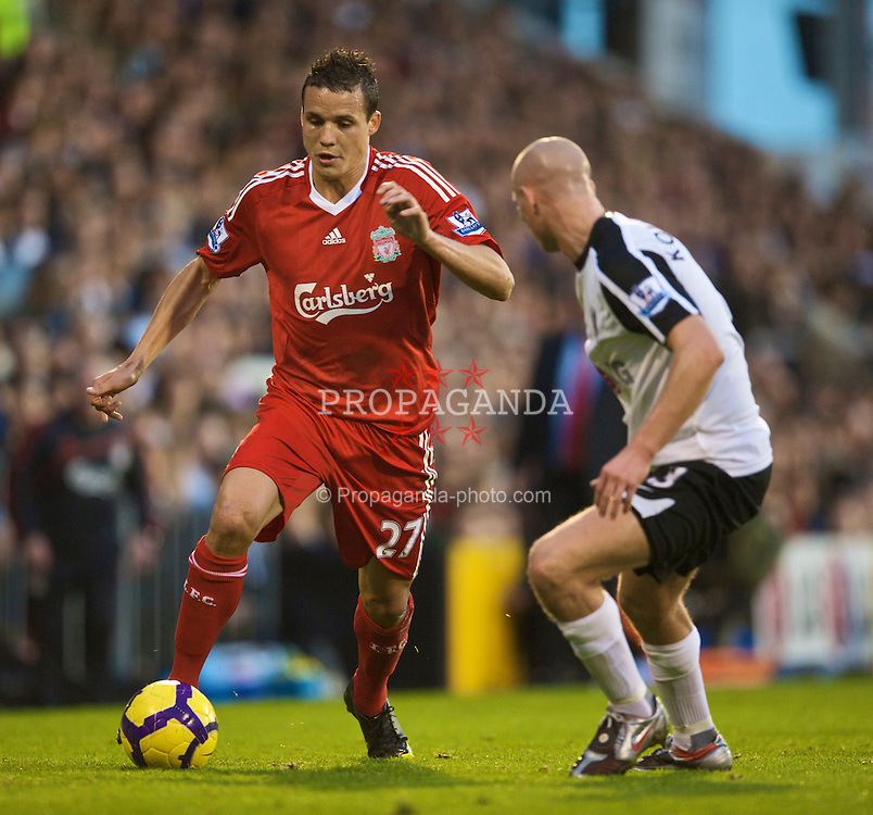 LONDON, ENGLAND - Saturday, October 31, 2009: Liverpool's Philipp Degen in action against Fulham during the Premiership match at Craven Cottage. (Pic by David Rawcliffe/Propaganda)