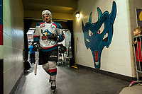 KELOWNA, CANADA - APRIL 8: Erik Gardiner #12 of the Kelowna Rockets exits the ice after warm up against the Portland Winterhawks on April 8, 2017 at Prospera Place in Kelowna, British Columbia, Canada.  (Photo by Marissa Baecker/Shoot the Breeze)  *** Local Caption ***