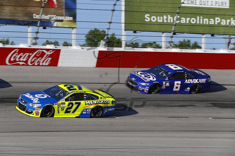 September 03, 2017 - Darlington, South Carolina, USA: Paul Menard (27) and Trevor Bayne (6) battle for position during the Bojangles' Southern 500 at Darlington Raceway in Darlington, South Carolina.
