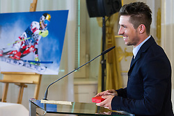 23.03.2016, Bundeskanzleramt, Wien, AUT, Überreichung des Großen Ehrenzeichens für Verdienste um die Republik Österreich an Marcel Hirscher, im Bild Marcel Hirscher (AUT) // Austrian Skier Marcel Hirscher during awarding ceremony golden order of merit for services rendered to the Republic of Austria for Austrian ski racer Marcel Hirscher at federal chancellors office in Vienna, Austria on 2016/03/23, EXPA Pictures © 2016, PhotoCredit: EXPA/ Michael Gruber