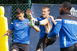 August 16, 2017 - Brugge, BELGIUM - Club's Dorin Rotariu and Club's Timmy Simons pictured during a training session of Belgian soccer team Club Brugge KSV, Wednesday 16 August 2017 in Brugge. The team is preparing for tomorrow's game against Greek club AEK Athens F.C., the first leg of the first playoff round for the UEFA Europa League competition. BELGA PHOTO BRUNO FAHY (Credit Image: © Bruno Fahy/Belga via ZUMA Press)