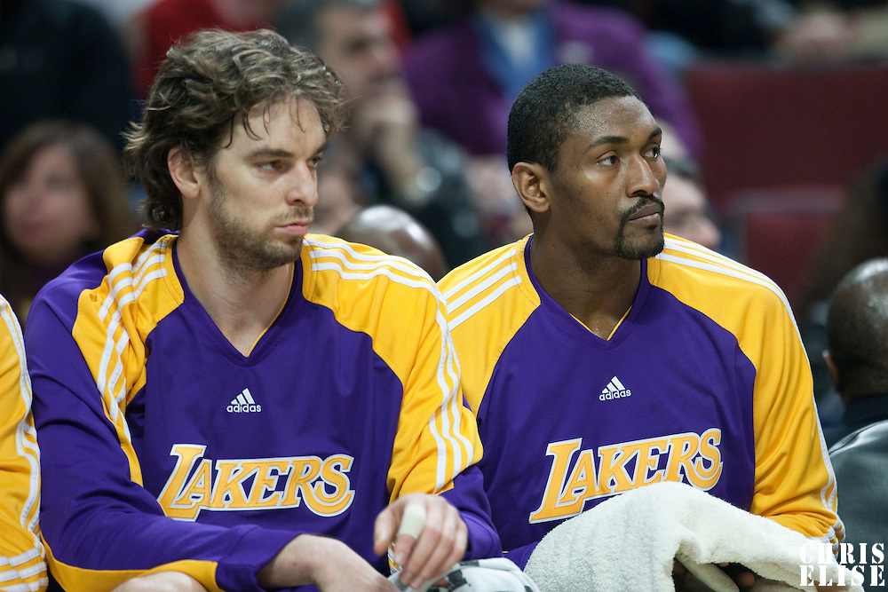 15 December 2009: Los Angeles Lakers forward Pau Gasol and Los Angeles Lakers forward Ron Artest are seen on the bench during the Los Angeles Lakers 96-87 victory over the Chicago Bulls at the United Center, in Chicago, Illinois, USA.