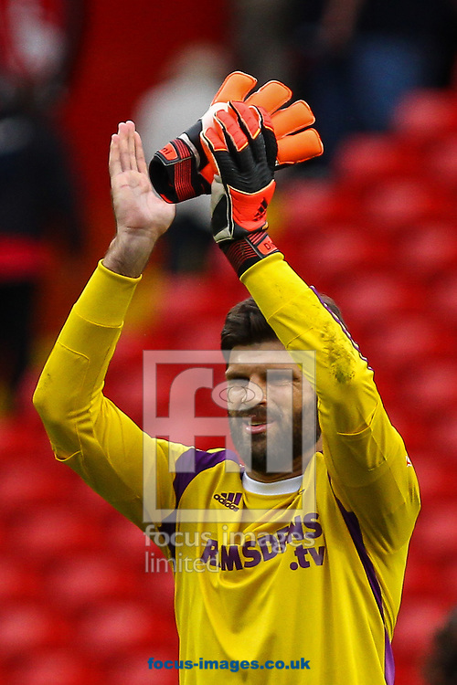 Dimitrios Konstantopoulos of Middlesbrough applauds fans after the Sky Bet Championship match at The Valley, London<br /> Picture by David Horn/Focus Images Ltd +44 7545 970036<br /> 27/09/2014