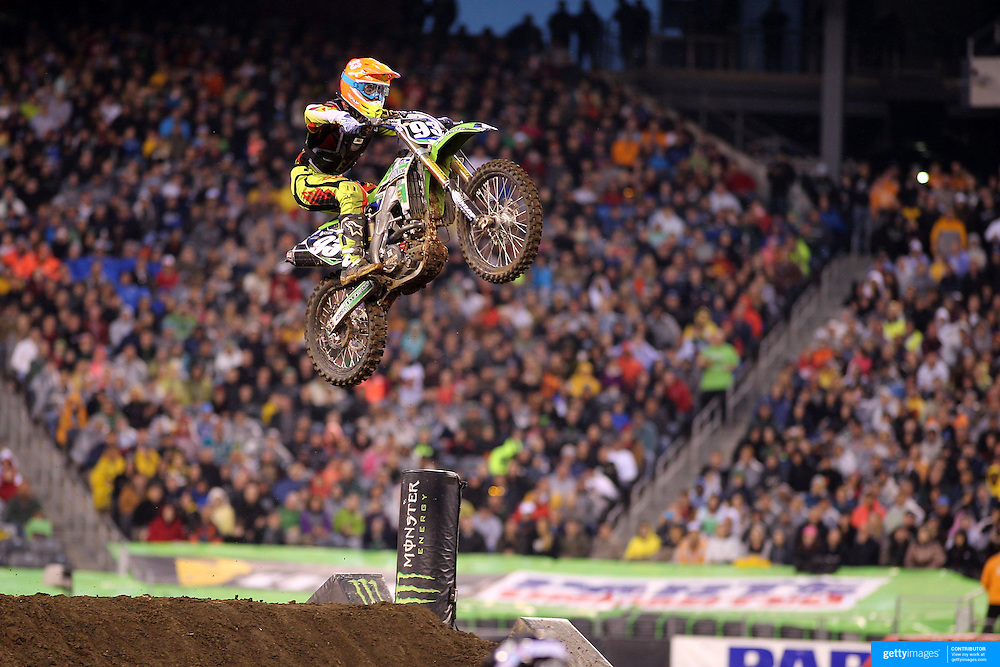 Adam Gulley, Kawasaki, in action during the 250SX Class Championship during round 16 of the Monster Energy AMA Supercross series held at MetLife Stadium. 62,217 fans attended the event held for the first time at MetLife Stadium, New Jersey, USA. 26th April 2014. Photo Tim Clayton
