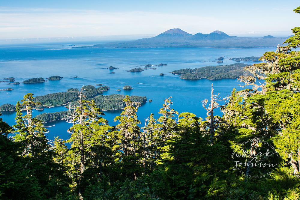 Sitka Sound, Mt. Edgecumbe (dormant volcano) on Kruzof Island in background, Sitka, Baranof Island, Southeast Alaska, USA
