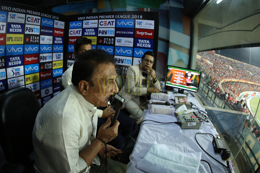 Commentators on work during match thirty nine of the Vivo Indian Premier League 2018 (IPL 2018) between the Sunrisers Hyderabad and the Royal Challengers Bangalore held at the Rajiv Gandhi International Cricket Stadium in Hyderabad on the 7th May 2018.<br /> <br /> Photo by Saikat Das /SPORTZPICS for BCCI