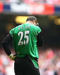 CARDIFF, WALES - SATURDAY, MAY 13th, 2006: Liverpool's goalkeeper Jose Reina looks dejected after his error gifted West Ham United a two goal lead during the FA Cup Final at the Millennium Stadium. (Pic by David Rawcliffe/Propaganda)