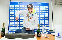 Press conference of Filip Flisar of Slovenia after winning gold at World Championship in Ski cross 2015 in Kreischberg, on January 27, 2015 in SZS, Ljubljana, Slovenia. Photo by Vid Ponikvar / Sportida