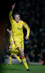 London, England - Tuesday, January 30, 2007: Liverpool's Peter Crouch celebrates scoring the second goal against West Ham United during the Premiership match at Upton Park. (Pic by David Rawcliffe/Propaganda)..USE IN LIVERPOOL DAILY POST & ECHO, LFC MAGAZINE & LFC PROGRAMME ONLY. NOT FOR OTHER USE.