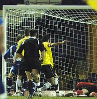 Photo: Paul Greenwood.<br />Bury v Hereford United. Coca Cola League 2. 30/01/2007. Bury's Richie Baker, left, scores past Wayne Brown