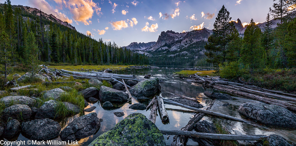 Fallen logs fill the outlet channel at Hell Roaring Lake in the Sawtooth Wilderness.