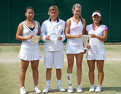 LONDON, ENGLAND - Sunday, July 3, 2011: Winners Eugenie Bouchard (CAN) and Grace Min (USA) (R) and runners-up Chen Tang (CHN) and Demi Schuurs (NED) after the Girls' Doubles Final match on day thirteen of the Wimbledon Lawn Tennis Championships at the All England Lawn Tennis and Croquet Club. (Pic by David Rawcliffe/Propaganda)
