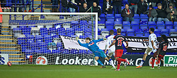 BIRKENHEAD, ENGLAND - Saturday, January 3, 2015: Tranmere Rovers' goalkeeper Owain Fon Williams is beaten as Swansea City's Mo Barrow scores the sixth goal during the FA Cup 3rd Round match at Prenton Park. (Pic by David Rawcliffe/Propaganda)