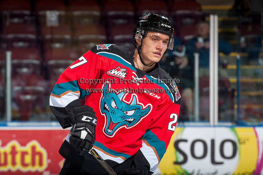 KELOWNA, CANADA - DECEMBER 7: Calvin Thurkauf #27 of the Kelowna Rockets stands on the ice during warm up against the Seattle Thunderbirds on December 7, 2016 at Prospera Place in Kelowna, British Columbia, Canada.  (Photo by Marissa Baecker/Shoot the Breeze)  *** Local Caption ***