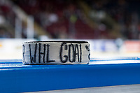 KELOWNA, CANADA - SEPTEMBER 29: The game puck commemorating the first WHL career goal of Libor Zabransky #7 of the Kelowna Rockets on September 29, 2017 at Prospera Place in Kelowna, British Columbia, Canada.  (Photo by Marissa Baecker/Shoot the Breeze)  *** Local Caption ***