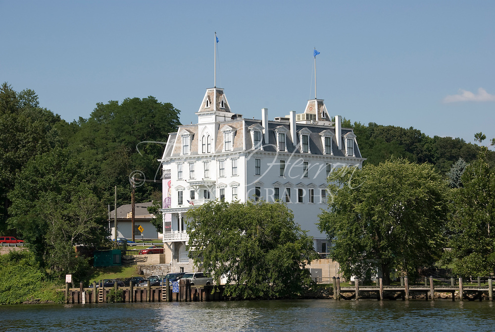 Goodspeed Opera House overlooks the Connecticut River in East Haddam, Connecticut. Historical Victorian theater was built in 1876.