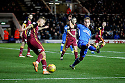 Peterborough United's Jamie Walker (6) with a header at the back post during the EFL Sky Bet League 1 match between Peterborough United and Bradford City at The Abax Stadium, Peterborough, England on 17 November 2018.