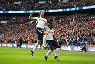 Harry Kane of Tottenham celebrates scoring the opening goal during the Premier League match between Tottenham Hotspur and Liverpool at Wembley Stadium in London. 22 Oct 2017 *** EDITORIAL USE ONLY *** No merchandising. For Football images FA and Premier League restrictions apply inc. no internet/mobile usage without FAPL license - for details contact Football Dataco