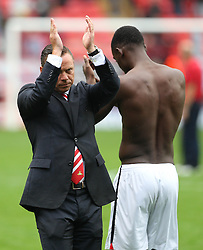 Doncaster Rovers Manager, claps the fans at the end of the abandoned game  - Photo mandatory by-line: Robin White/JMP - Tel: Mobile: 07966 386802 24/08/2013 - SPORT - FOOTBALL - The Valley - Charlton -  Charlton Athletic V Doncaster Rovers - Sky Bet League Two