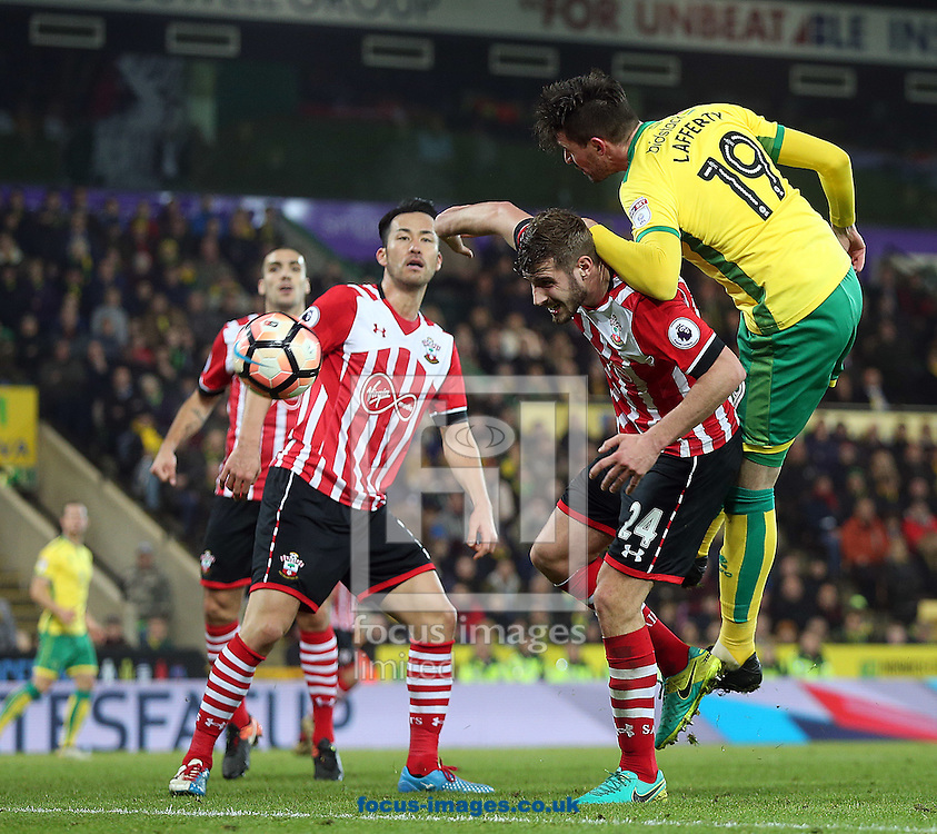 Kyle Lafferty of Norwich heads for goal during the third round of the FA Cup at Carrow Road, Norwich<br /> Picture by Paul Chesterton/Focus Images Ltd +44 7904 640267<br /> 07/01/2017