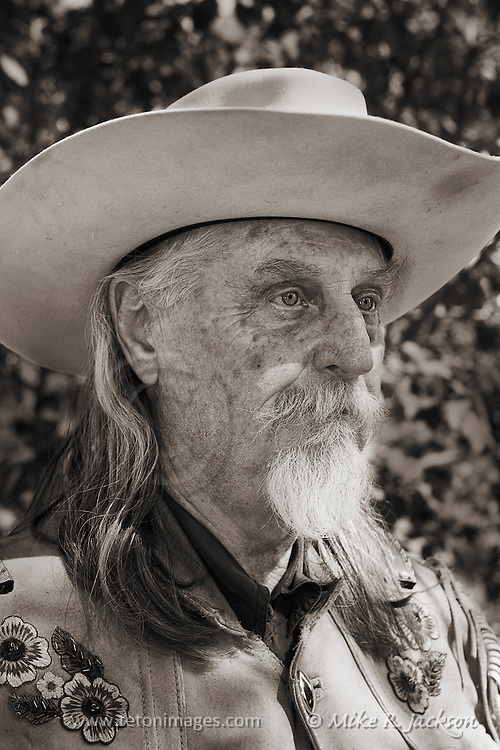 Reenactor dressed as Buffalo Bill Cody at historic Fort Bridger's Mountain Man Rendezvous.