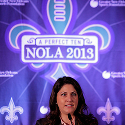 Sep 2, 2009; New Orleans, LA, USA; New Orleans Saints owner and executive vice president Rita Benson LeBlanc talks during a Super Bowl XLVII press conference at the New Orleans Convention Center and Bureau.   Mandatory Credit: Derick E. Hingle