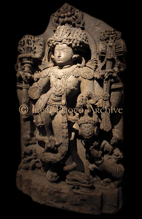 Bhairava a destructive manifestation of Siva the Hindu God. This Hindu deity was adopted by Tantric Buddhism in Tibet and is known as Vajrabhairava. 13th century, Hoysala dynasty (1050-1300 AD) chlorite schist sculpture from Karnatakain India