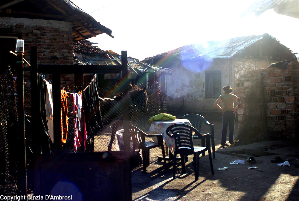 the roma population in the town of Kjustendil are segregated in a ghetto area around the river that divides the town