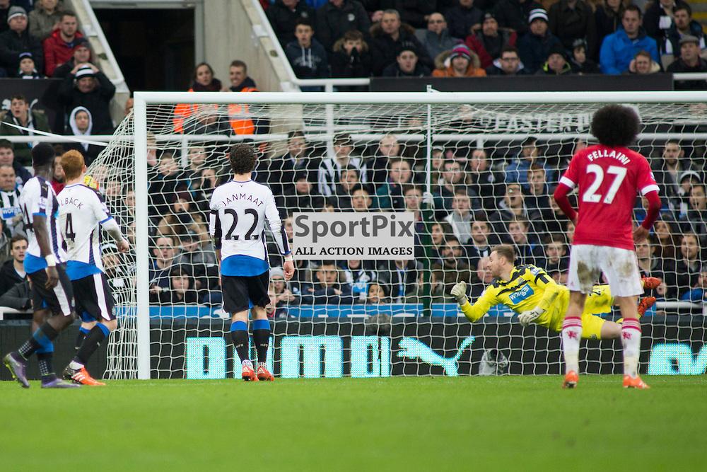 Newcastle v Manchester Utd 12 January 2016<br />Wayne Rooney scores<br />(c) Russell G Sneddon / SportPix.org.uk