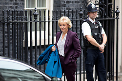 © Licensed to London News Pictures. 21/09/2017. London, UK. Leader of the House of Commons Andrea Leadsom leaving No 10 Downing Street after attending a Cabinet meeting this morning. Photo credit : Tom Nicholson/LNP