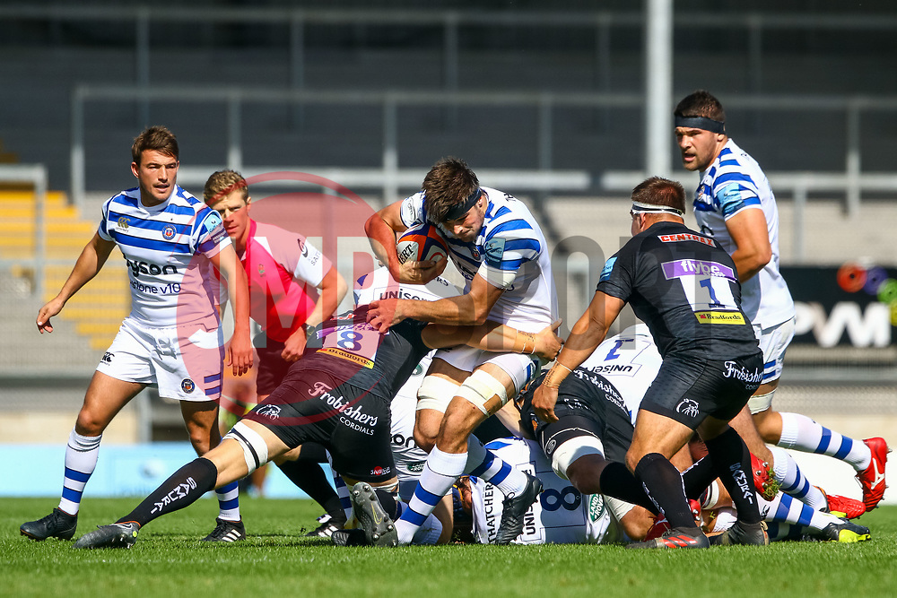 Charlie Ewels is tackled by  Tom Lawday - Ryan Hiscott/JMP - 09/09/2018 - RUGBY - Sandy Park - Exeter, England - Exeter Braves v Bath United, Premiership Rugby Shield