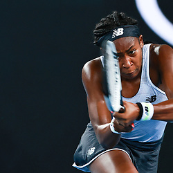 Tennis: open de Melbourne. (200120) -- MELBOURNE, Jan. 20, 2020 (Xinhua) -- Cori Gauff of the United States hits a return during the first round of women's singles match between Cori Gauff of the United States and Venus Williams of the United States at 2020 Australian Open in Melbourne, Australia, Jan. 20, 2020. (Xinhua/Wang Jingqiang)<br /> <br /> <br /> <br /> 250084 2020-01-20  MELBOURNE <br /> <br /> Photo by Icon Sport - Cori GAUFF