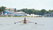 Eton Dorney, Windsor, Great Britain,..2012 London Olympic Regatta, Dorney Lake. Eton Rowing Centre, Berkshire[ Rowing]...Description;  NZL M1X Mahe DRYSDALE,  moves away from the start in his heat of the Men's Single Sculls,  Dorney Lake. 15:00:22  Saturday  15:00:22   [Mandatory Credit: Peter Spurrier/Intersport Images].