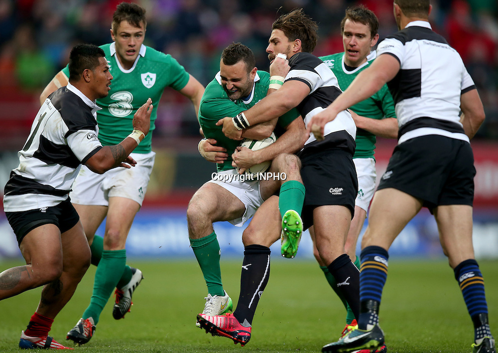 Barbarians Summer Tour Match, Thomond Park, Limerick 28/5/2015 <br /> Ireland XV vs Barbarians<br /> Ireland's Dave Kearney tackled by Wynand Olivier of Barbarians<br /> Mandatory Credit &copy;INPHO/Dan Sheridan
