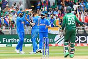 Wicket - Hardik Pandya of India celebrates taking the wicket of Soumya Sarkar of Bangladesh during the ICC Cricket World Cup 2019 match between Bangladesh and India at Edgbaston, Birmingham, United Kingdom on 2 July 2019.