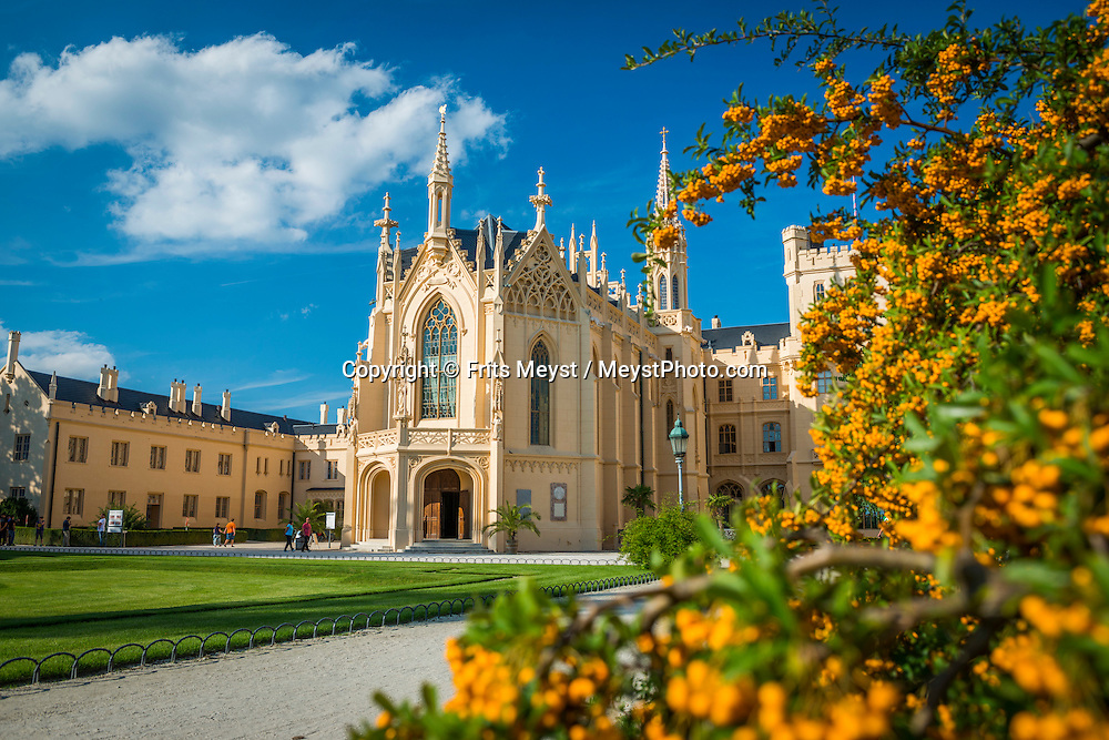 Lednice, Moravia, Czech Republic, September 2015. Lednice's massive neo-Gothic chateau, owned by the Liechtenstein family from 1582 to 1945, is one of the country's most popular weekend destinations. Southern Moravia is most famous for its wine,  rolling hills and pretty landscapes. Photo by Frits Meyst / MeystPhoto.com
